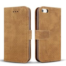 Mesh PU Leather Wallet case for iPhone5S , for iPhone SE case cover