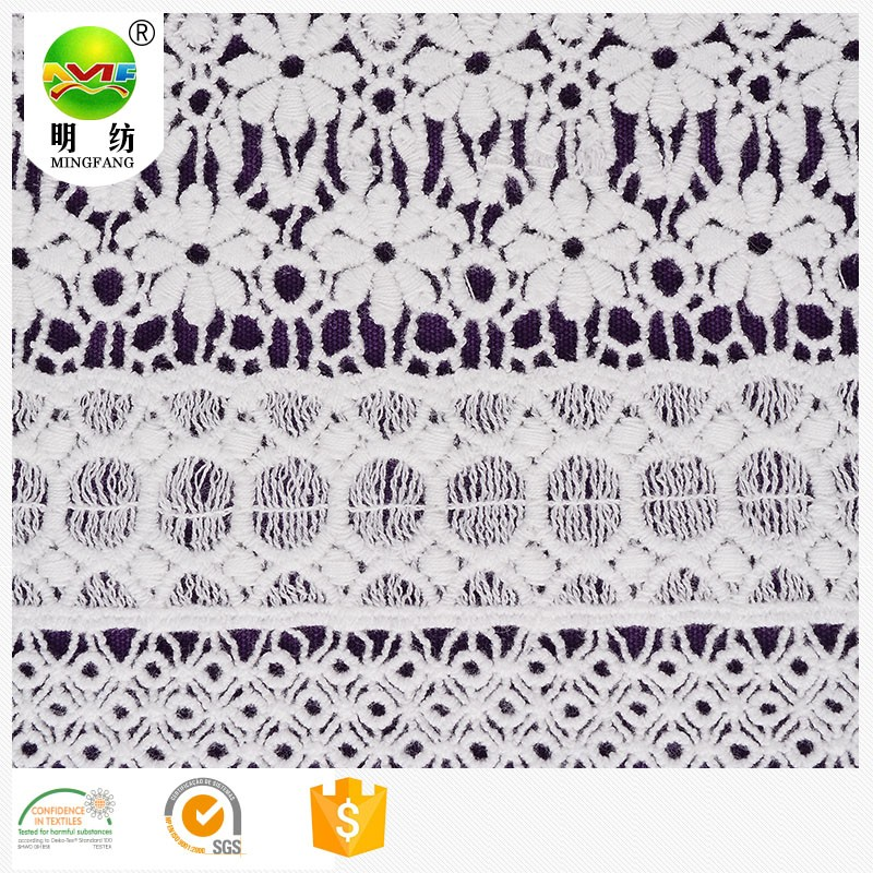 shaoxing keqiao fashion popular 100 cotton fancy chemical embroidery lace fabric