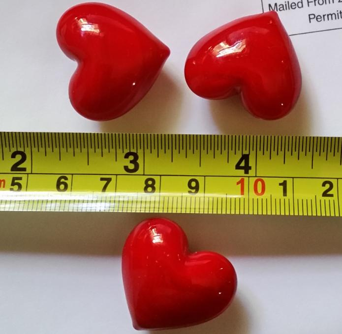 glass beads WITHOUT <strong>hole</strong> love red Hearts