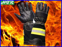 HTR EN659 Cow Leather Aramid Fire Fighting Gloves long cuff protective gloves