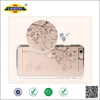 2015 unique pc mobile phone Case Crystal Clear Transparent Plating Hard PC Cover Case With Diamond For iPhone 6 6 plus