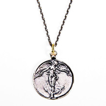 Guardian Angel with antique silver plated necklaces