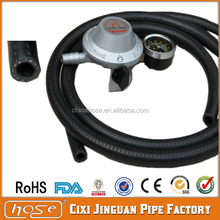 Cixi Jinguan Black Embossing Printing Flexible Best Cheap Fibre Reinforced PVC Gas Hose Pipe PVC Natural Gas Hose LPG Gas Hose