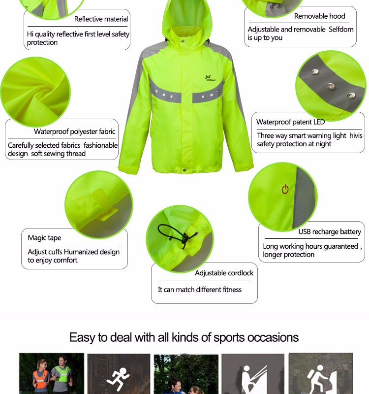 Men LED winter motorcycle high visibility reflective man jacket