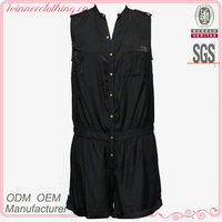 Top Fashion Girls Simple Designed Sexy Sleeveles Black Designer Jumpsuit