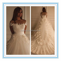 Charming Wedding Dress for Fat Woman Cap Sleeve Layers Wedding Gown Long Wonderful Train Lace Wedding Dresses 2015(MSYY-1006)