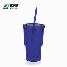 China factory best price double wall reusable hot cold 16oz straw plastic cups with logo custom logo printed