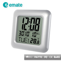LCD calendar bathroom wall clock with waterproof