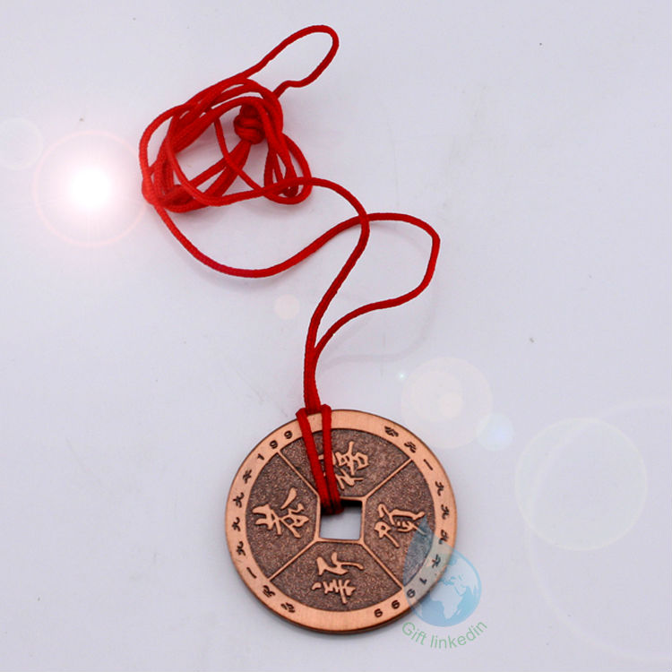 Red bungee cord metal key chain