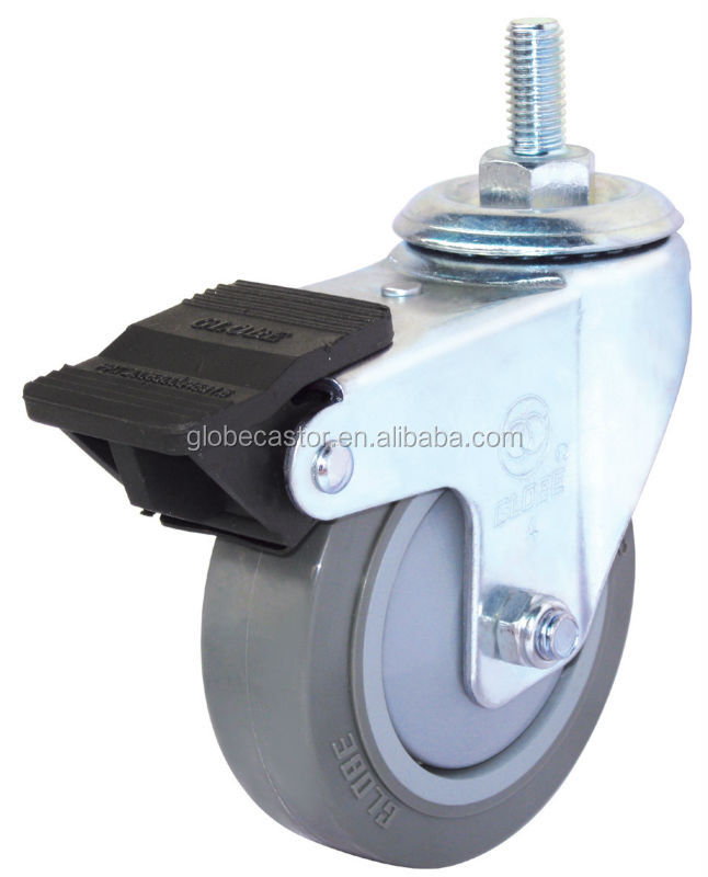 "25mm small caster wheel, 75mm medium duty caster wheel , 3"" Threaded stem PU gray swivel locking truck caster wheel"