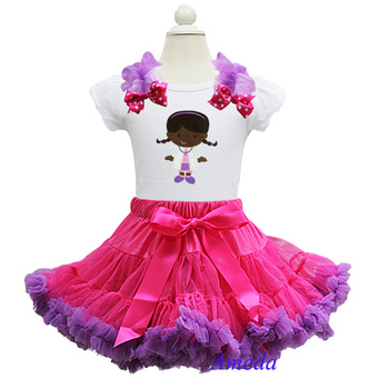 Pink Purple Pettiskirt Embroidered Doc McStuffins Tee Shirt Party Dress Costume