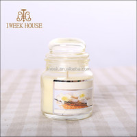 2015 vey hot design scented glass candle with gradient color glass