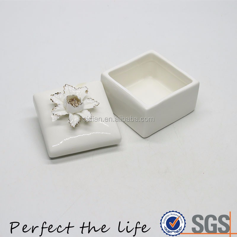 White high quality handmade Ceramic Jewelry box with gold rim flower cover