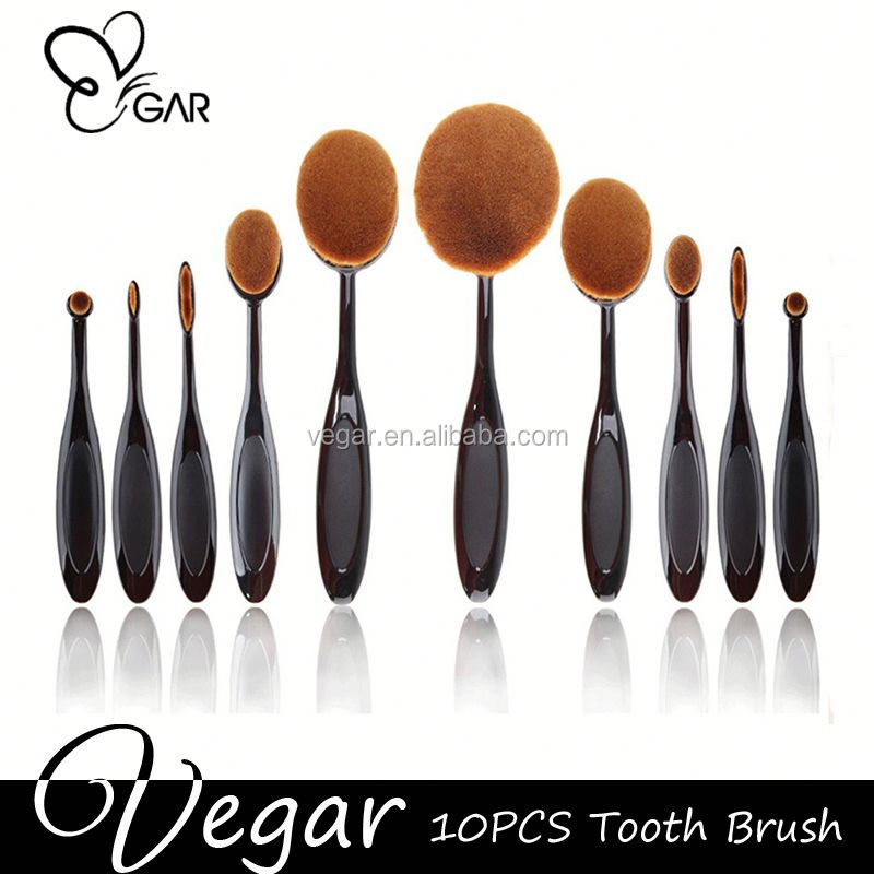 2016 oval synthetic hair 10pcs makeup brush makeup retractable brush