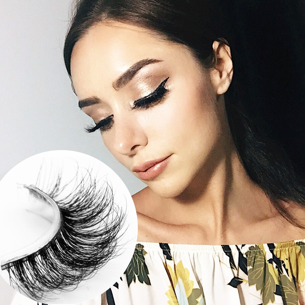 1 pair 100% handmade real mink fur long false eyelash 3D strip mink lashes thick fake faux eyelashes Makeup beauty tool