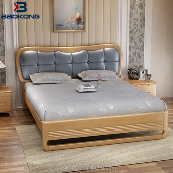 PU Leather Headboard Bed For Solid Wood Bedroom Sets