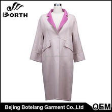 OEM elegant style 100% Women cashmere wool long coat for winter and autumn