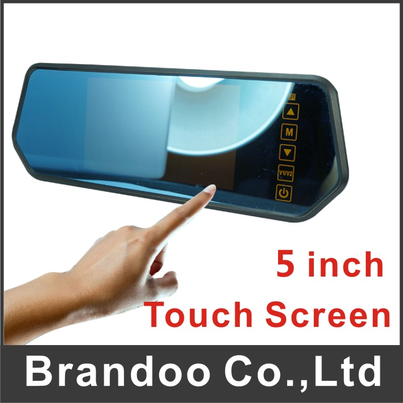 rearview mirror monitor , touch screen, 2 channel video input, auto switching rear camera, BD-7105T from Brandoo