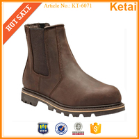 Brown crazy horse leather sexy safety boots with rubber outsole