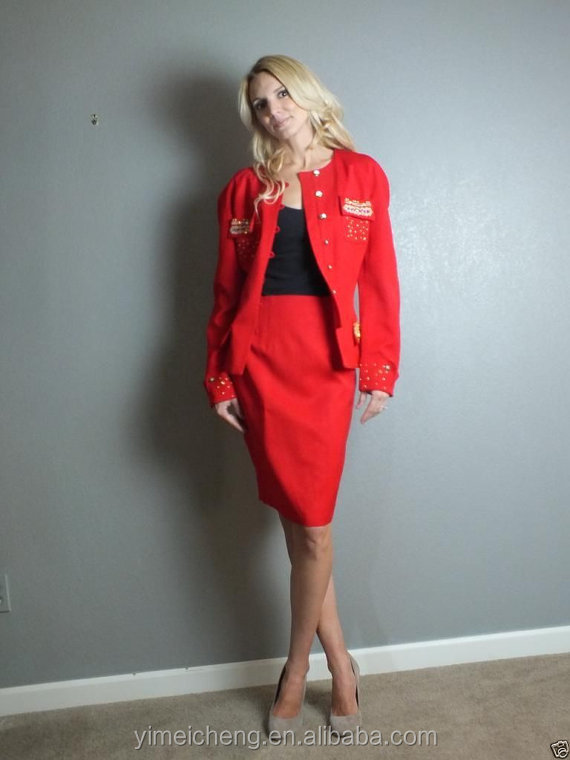 Red round neckline gold metal button mayure woman career dress tailored uniform suits ladies