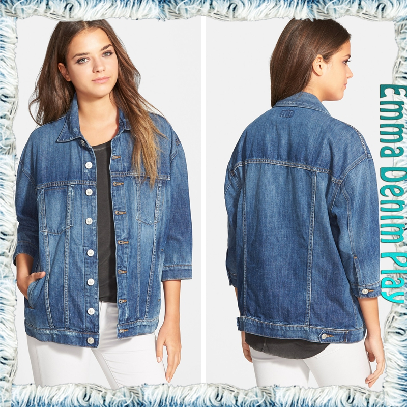 Wholesale Fashion Women's Blue Washed Silver Button Jean Jackets Oversized