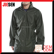 Multi Use PU Coated Polyester Olive Green Waterproof Fishing Raincoat