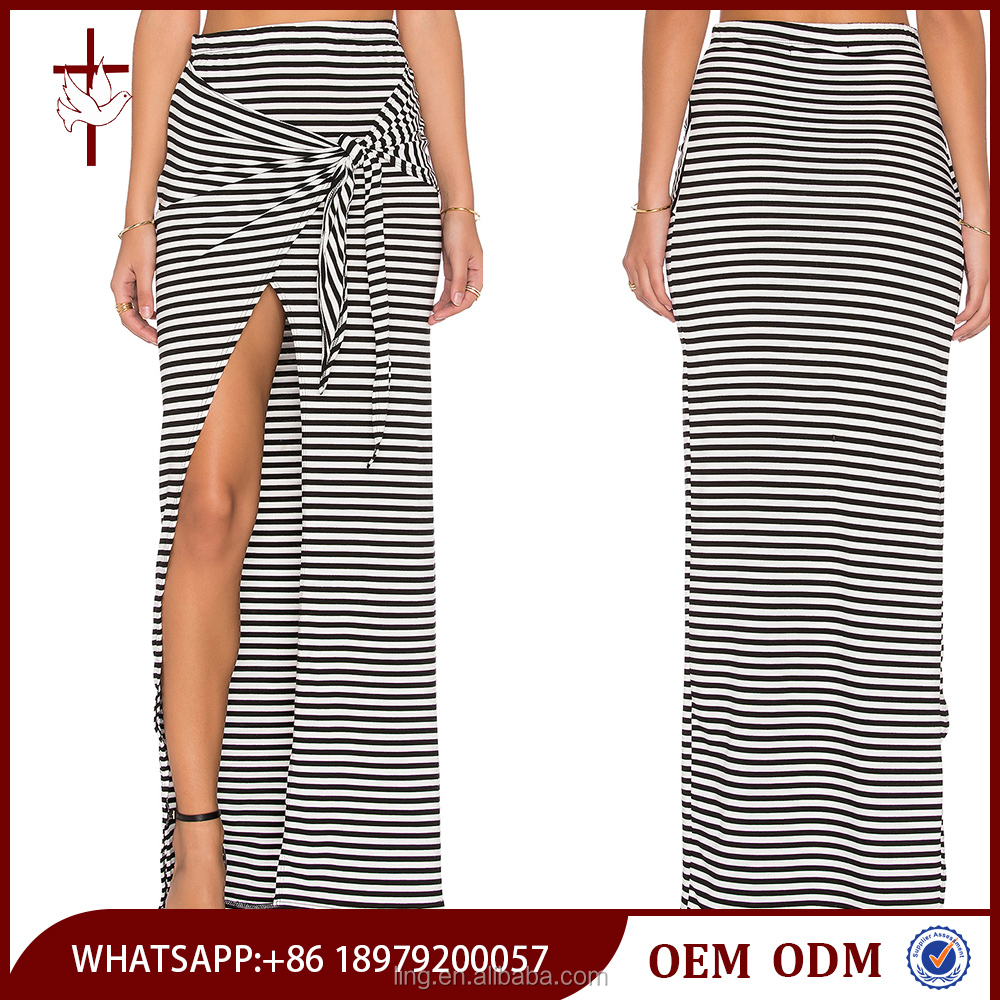 Long Skirts For Women Modal Spandex Front Tie Jersey Stripe Maxi Skirt