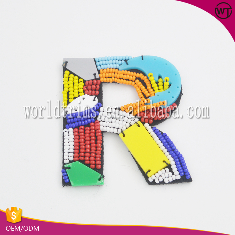"New design ""R"" letter beaded patch for clothes decoration"