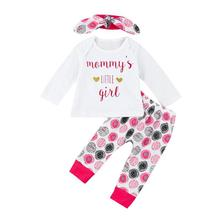 infant toddlers autumn winter clothing sets baby girl mommy's little girl letter print romper with long pants+headband 3pcs suit