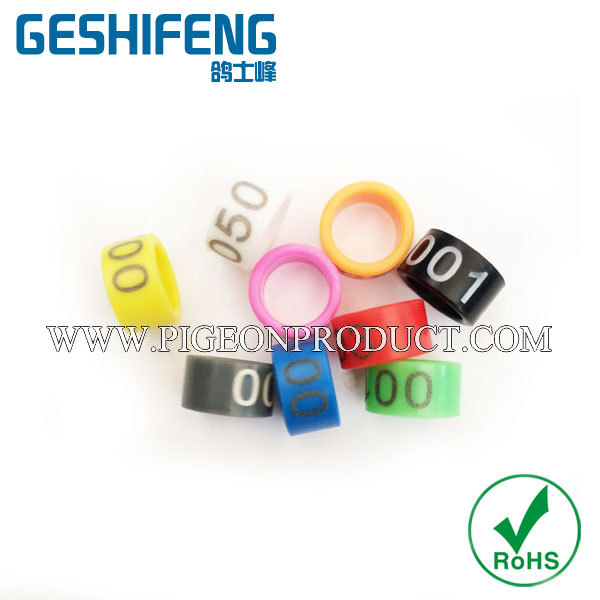 Plastic closed rings birds in ALL color with white letter engraving