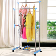 Double pole standing folding cloth hanger drying rack metal cloth rack