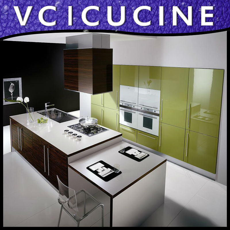 2013 new design high gloss Blue lacquer kitchen cabinet