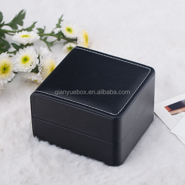 Black Rubber Finish Watch Boxes single watch boxes