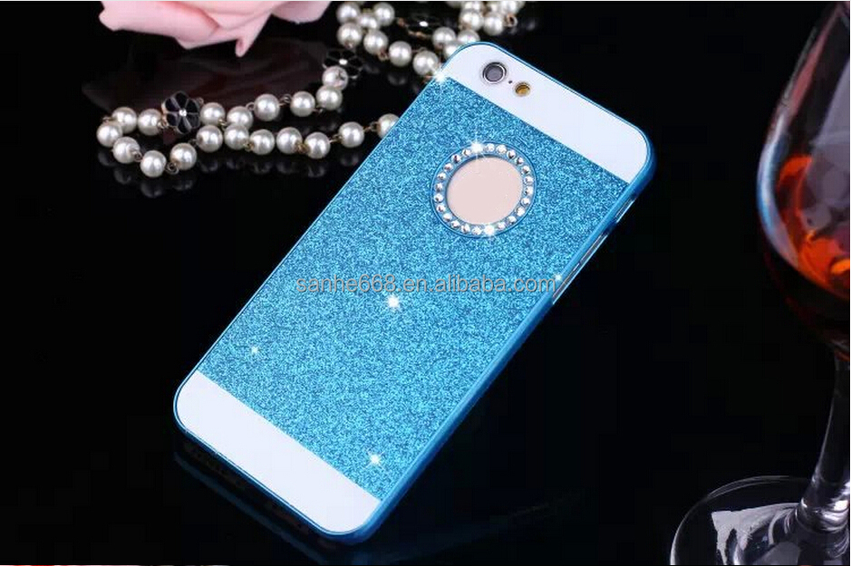 For iPhone 6 Glitter Back phone protector case diamond pc glitter phone case for Apple iPhone 5 5s 6 6s plus cover case