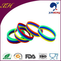 Silicone rainbow color bracelet/mini rubber band no smell BLN-01