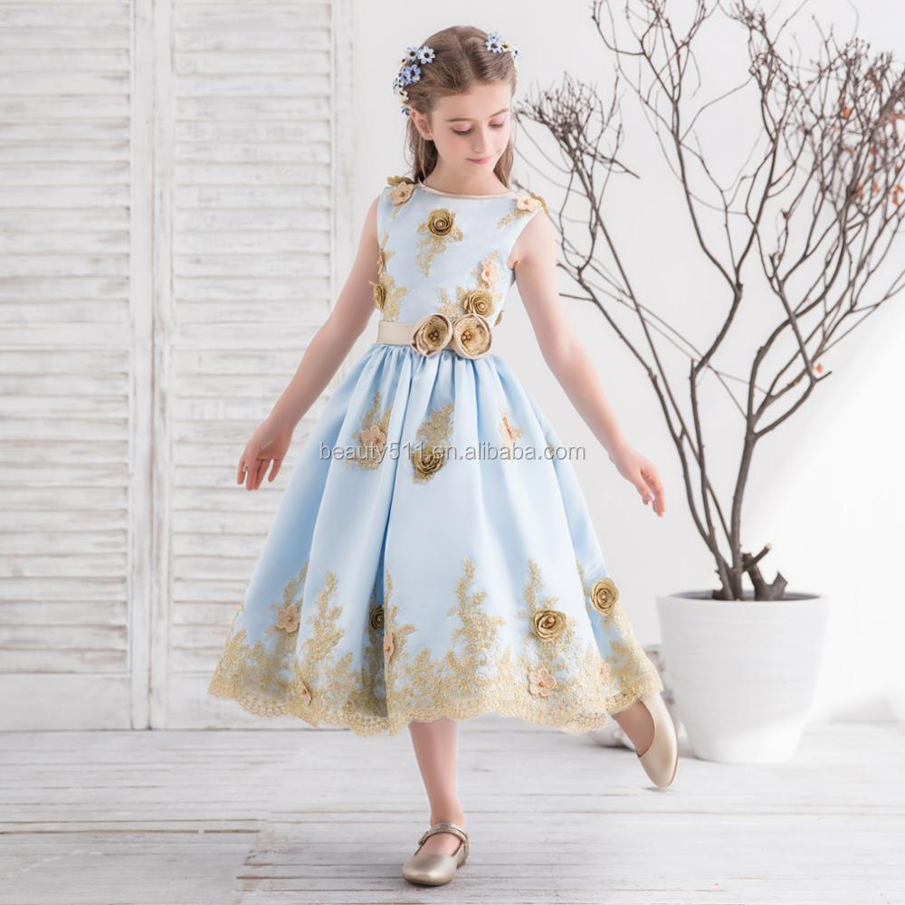 2018 New Champagne color party birthday flower girl dress wedding princess girls special occasion dresses flower girl dresses