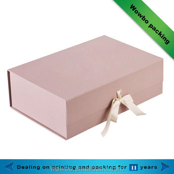 Clamshell pink gift paper box with ribbon
