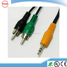 Orange Stereo Male Plug to 2 RCA Black Green Male Stereo Audio Cable