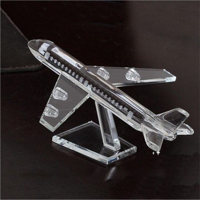 2017 Wholesale Custom large Crystal glass aircraft model plane natural pattern