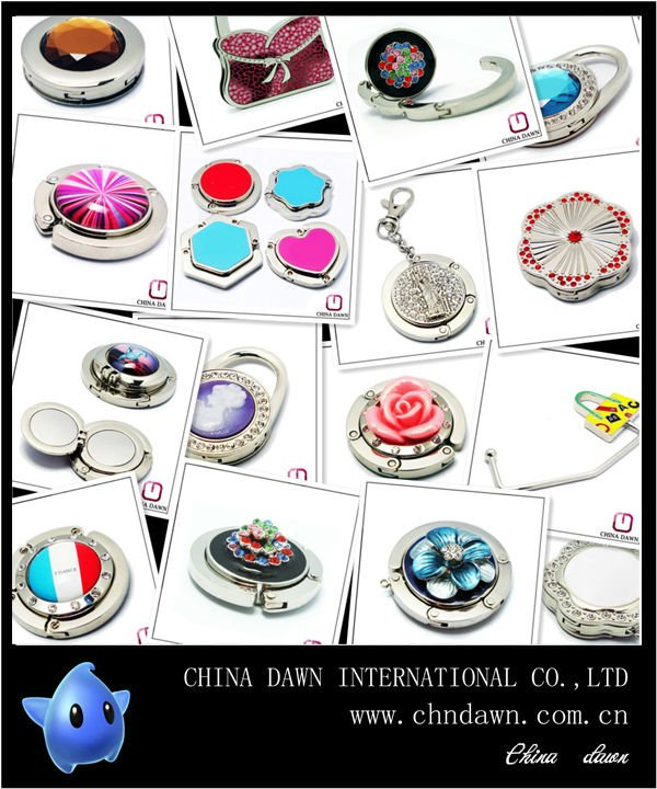 Promotional mother of pearl keychain bag hanger hook with customer logo CD-PH051