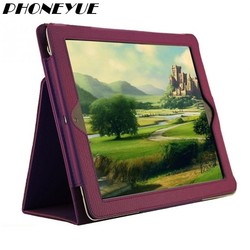 Litchi Pattern Protect Flip Leather Fiber Lining Case For iPad 2/3/4 With Smart Sleep Wake Up Function