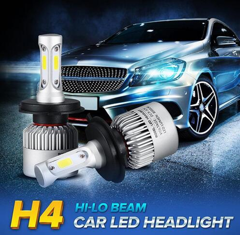 S2 cob car led headlight 9005 9006 h1 h4 h7 h11 72w 8000lm led headlight