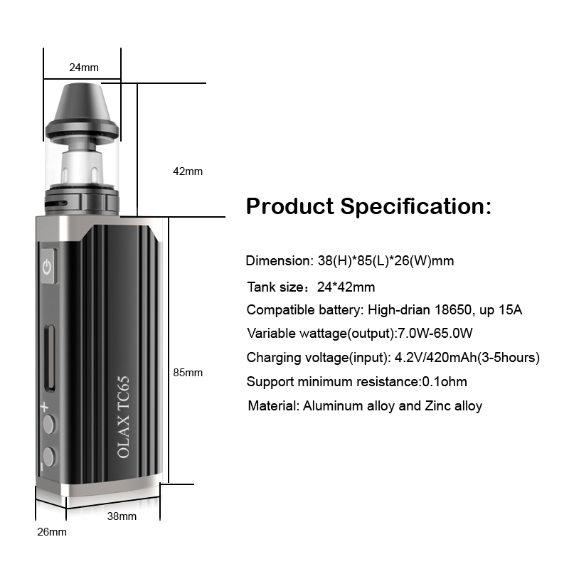 Hot Selling 65W Electronic Cigarette OLAX TC 65W with 18650 Battery 2200mAh