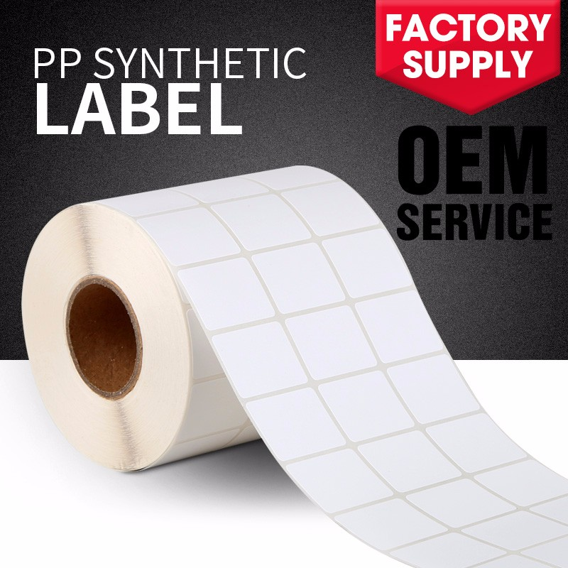 Factory direct sale PP material adhesive heat resistant synthetic paper sticker for cable label tags cosmetics