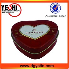 Hot sale heart shaped cocolate wedding gift tin can