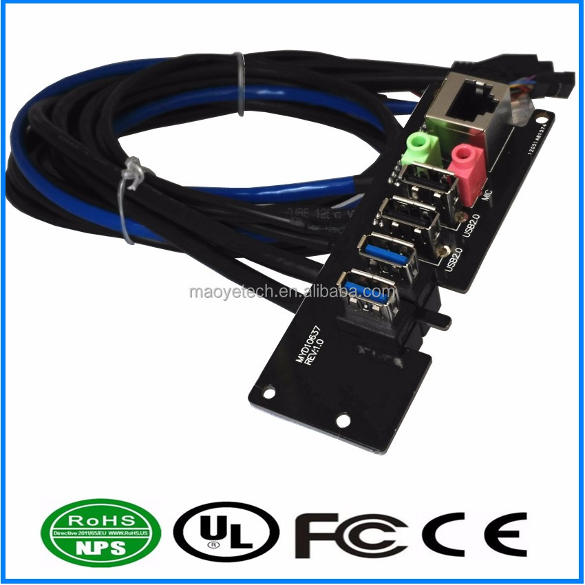 PC Computer Case Front Panel mounted cable USB 3.0 + USB 2.0 Audio Port Mic Earphone Cable Motherboard cable