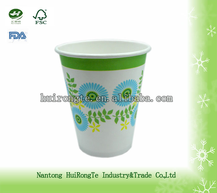 8oz single wall flower printed disposable paper cold cup
