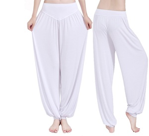 Blank plain wholesale dance sports loose women oem high quality high waist plus size white yoga pants