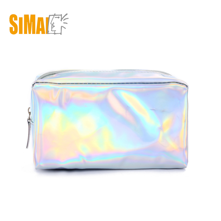 Wholesale holographic cosmetic bag PU toiletry bag <strong>travel</strong>,LASER PU makeup bag