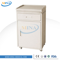 MINA-BS08 hospital abs bed side cabinet,medical beside locker with drawer